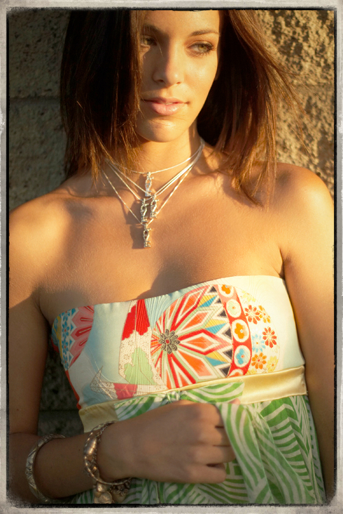 "Style ""In Paris"" Close up of Vintage Kimono and Love Necklaces"