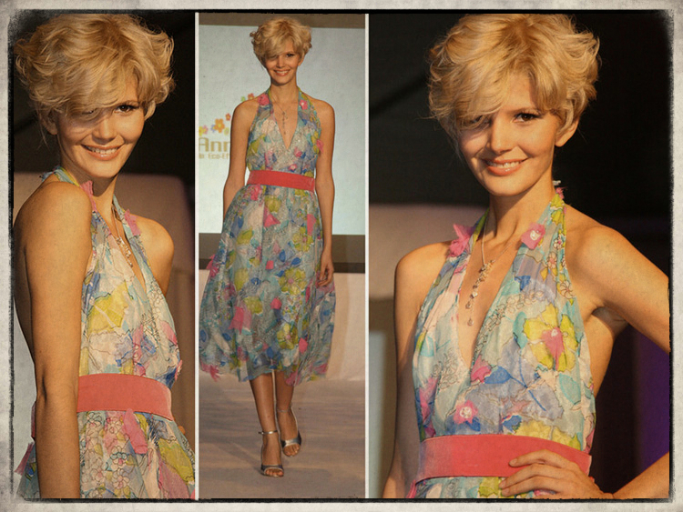 """Style """"Sprite"""" Made of fabric from the 50's, 70's and 80's Low cut back and a 50's silhouette this dress celebrates life!"""