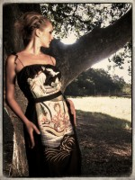 """Style """"Magical Forest"""" Vintage Kimono and 1980's Black Satin Floral Brocade Trimmed with Upcycled Organza"""